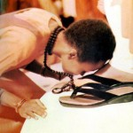 Touching the feet of the master