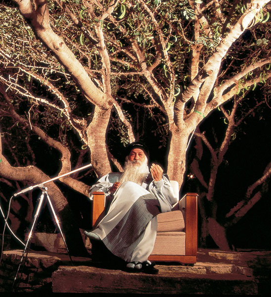 Osho giving a discourse in Crete
